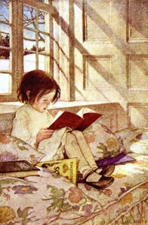 Child reading in window seat - Willcox Smith