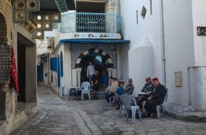Men in an Arab coffee shop